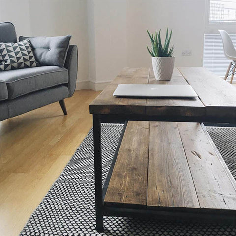 Oldman Industrial Reclaimed Wood Coffee Table with Shelf