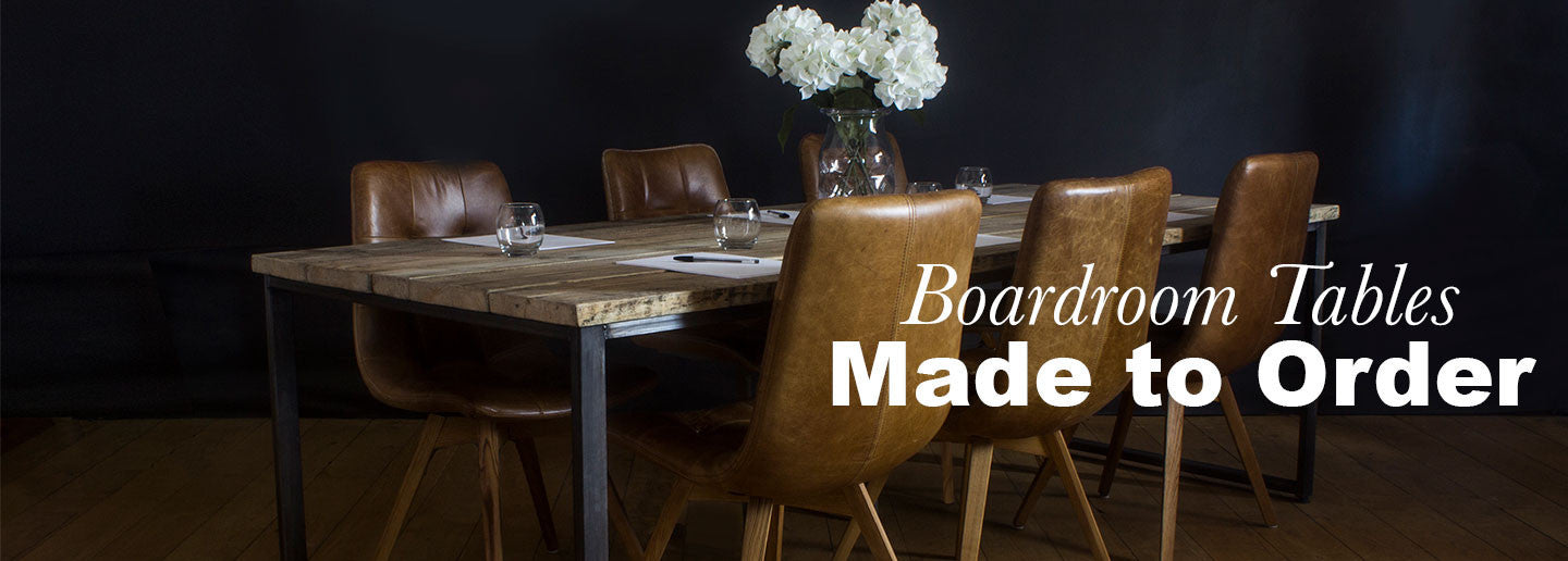 Oldman Reclaimed Wood Boardroom table with leather brown chairs