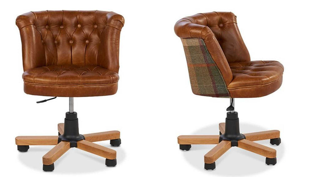 Brown leather office chair with wool back
