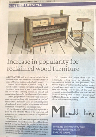 increase in popularity for reclaimed wood furniture - by the Guardian