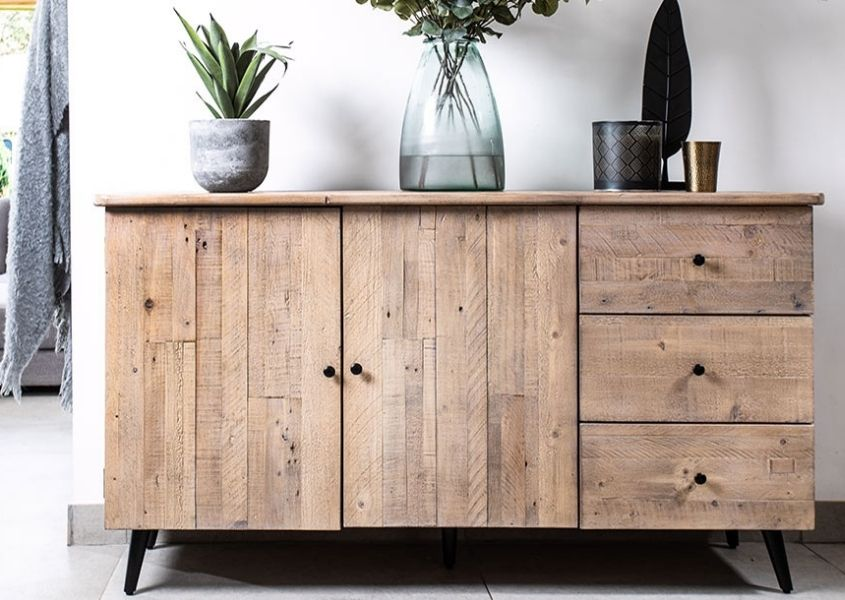 Reclaimed wood sideboard with two cupboards and three drawers