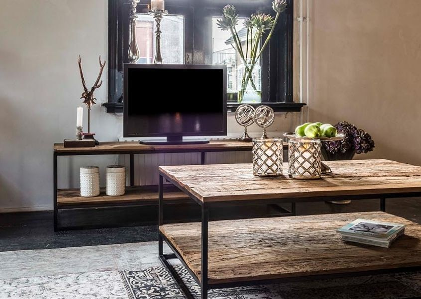 Reclaimed wood industrial coffee table with matching tv unit with TV on top