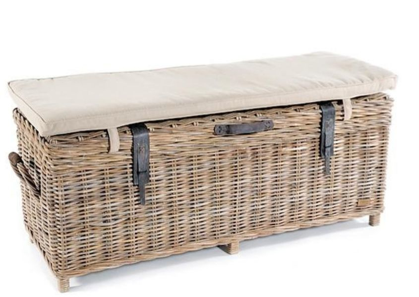 Cut out image of rattan storage chest with white cushioned seat