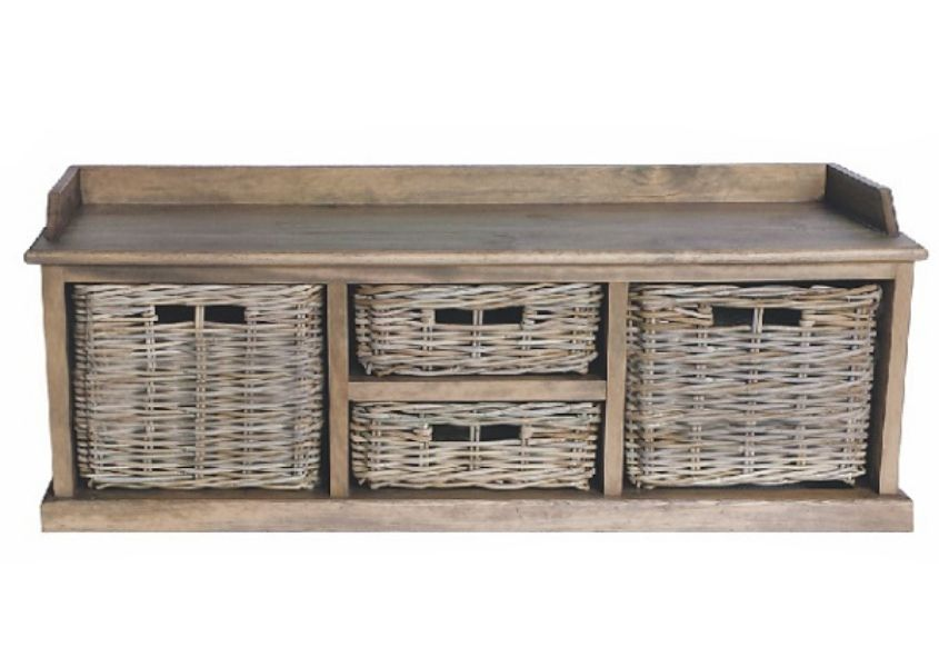 Cut out of wooden storage bench with two large rattan baskets and two rattan drawers