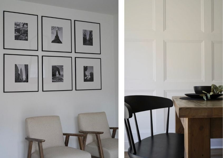 Six black framed prints on the wall with a black wooden dining chair and rustic dining table