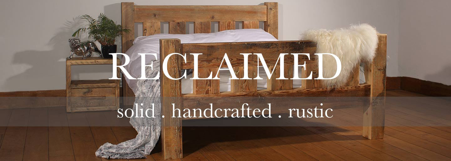Solid English Beam Beds Made Out Of Reclaimed Wood For Bedroom