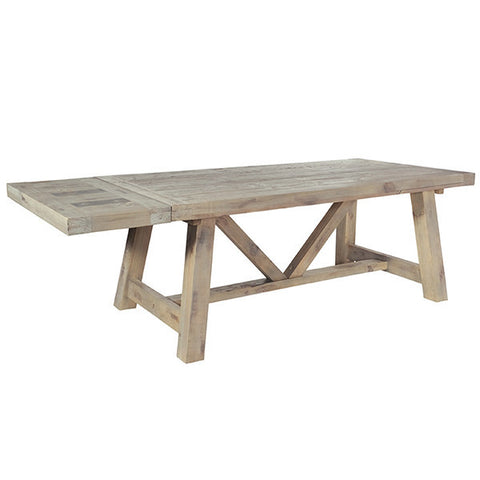 Saltash Reclaimed Wood Extendable Trestle Table with Extension