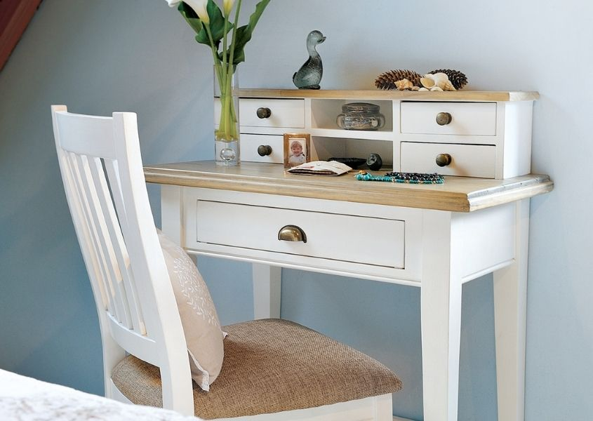White painted reclaimed wood dressing table with small draws and matching white wooden chair
