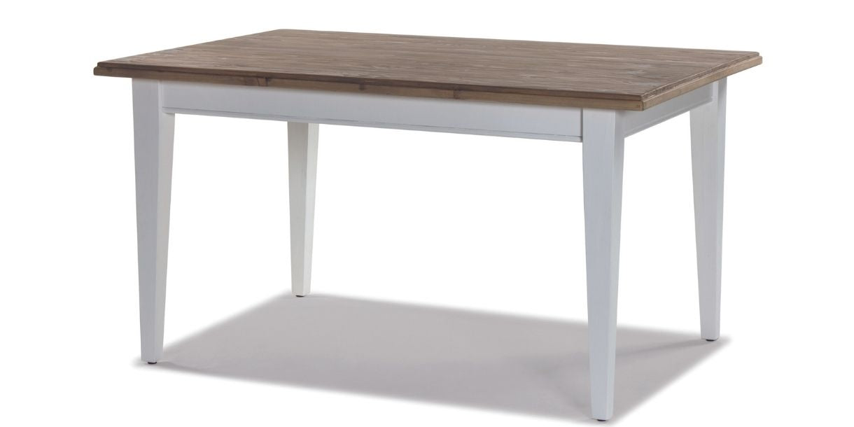 reclaimed wood dining table with white painted legs