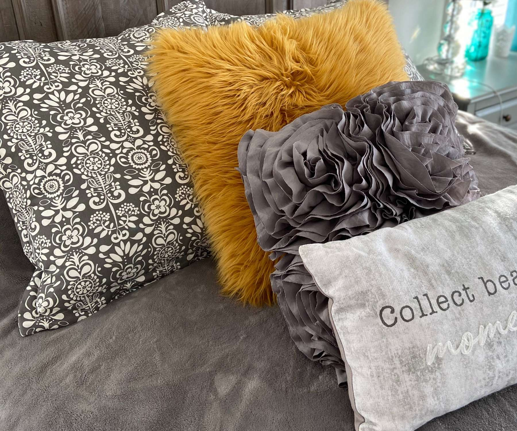 selection of cushions in different colours and patterns