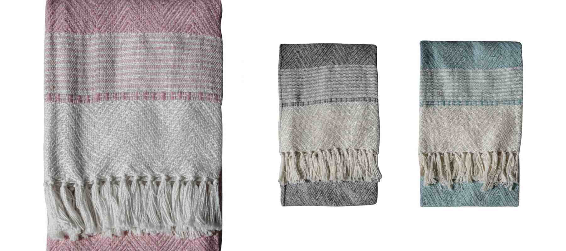 Three PET blankets in blue, pink and grey