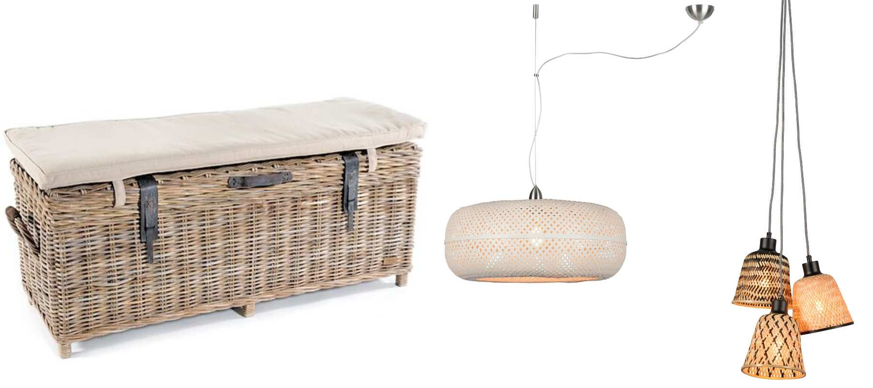 Rattan storage bench with cushion, white rattan pendant light and bamboo hanging lights