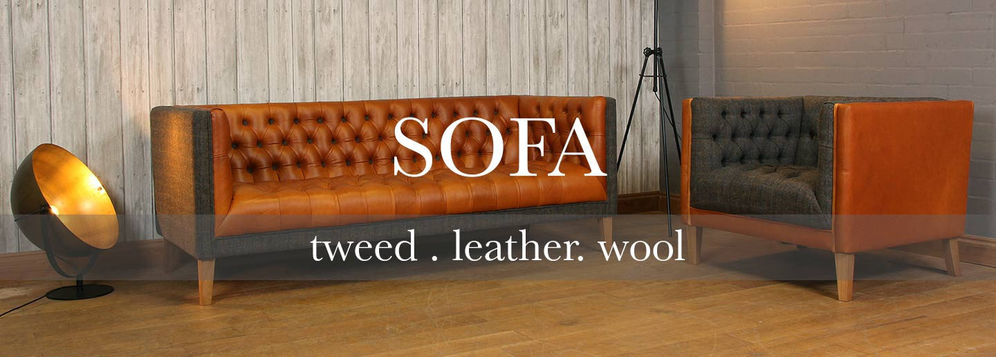 Leather, Tweed and Wool Sofa