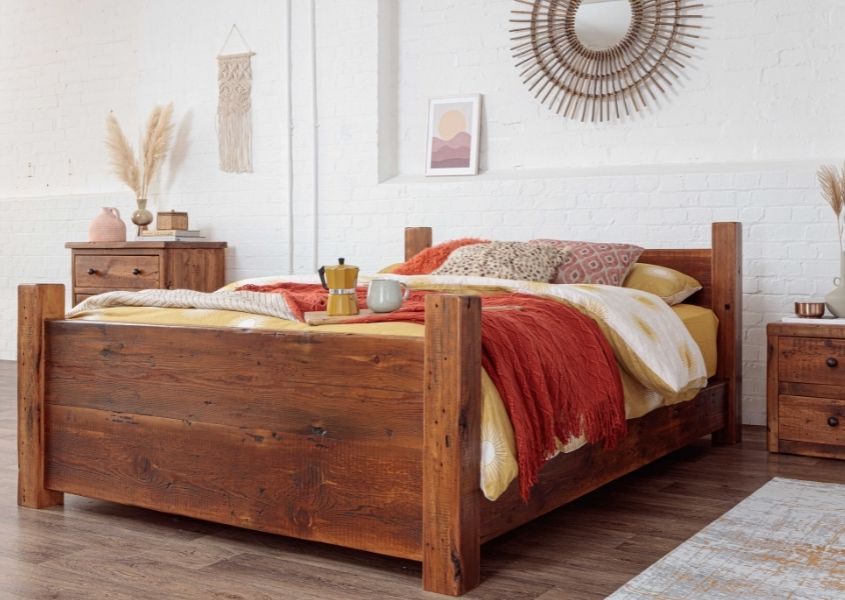 Loft wooden bed with high footboard