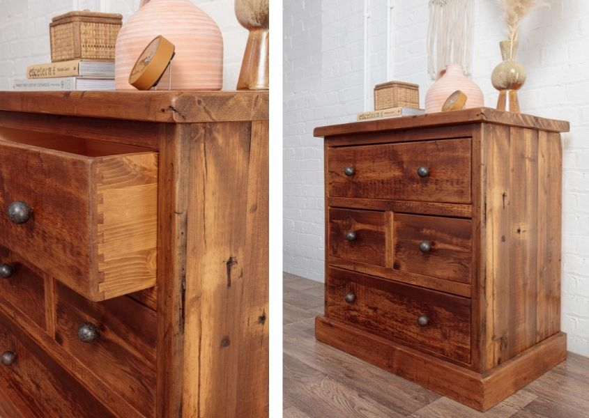 Woodend chest of drawers with dried grasses and stone vases