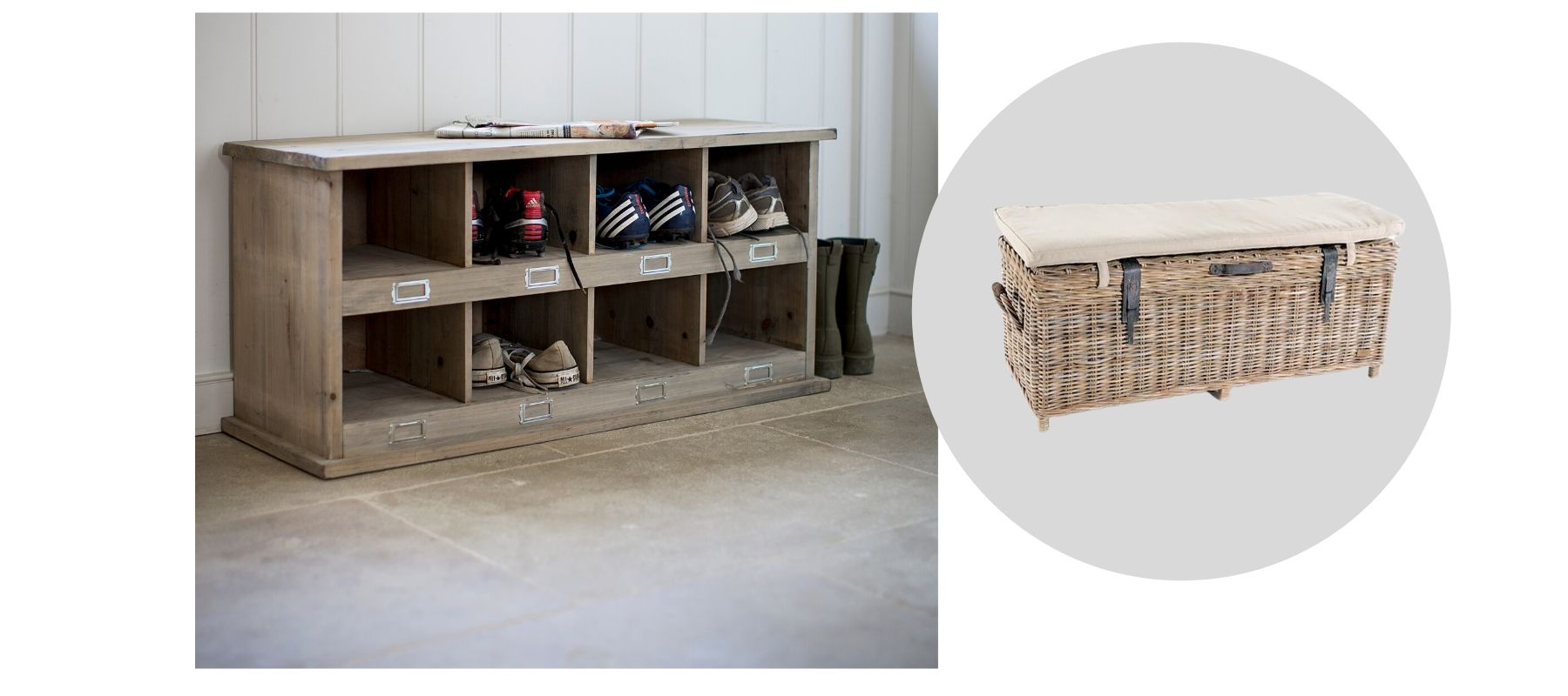 Wooden boot storage and wicker basket