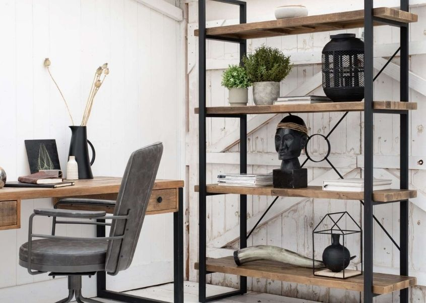 Industrial bookcase in reclaimed wood for How to Style a Bookcase blog