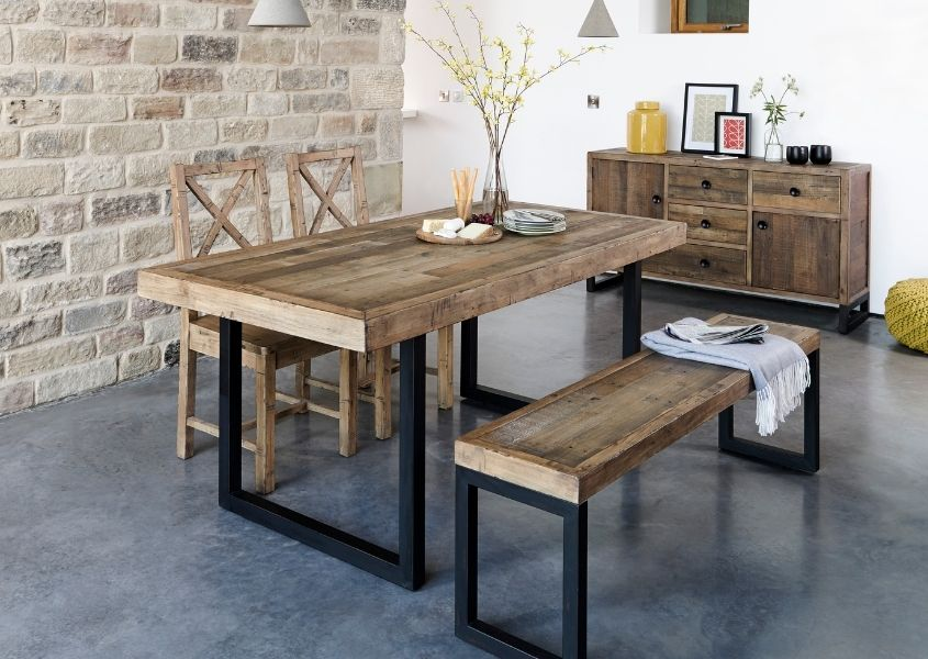 Industrial dining table and matching wooden dining bench