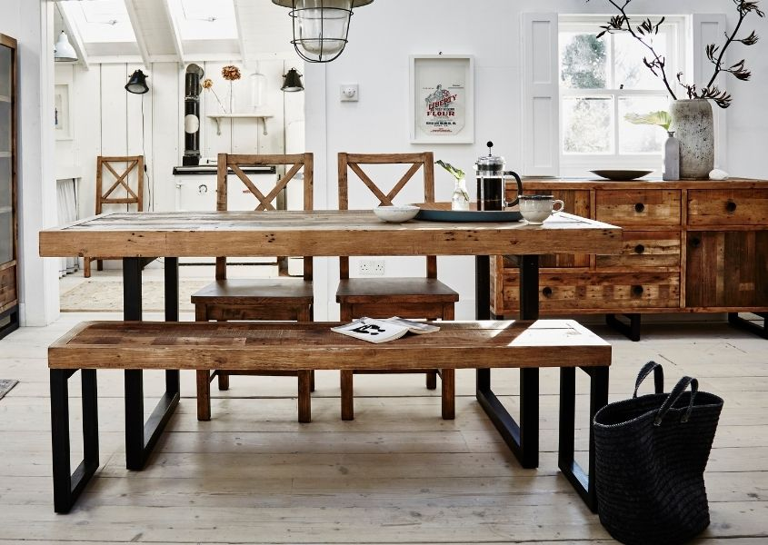 industrial dining table and wooden bench
