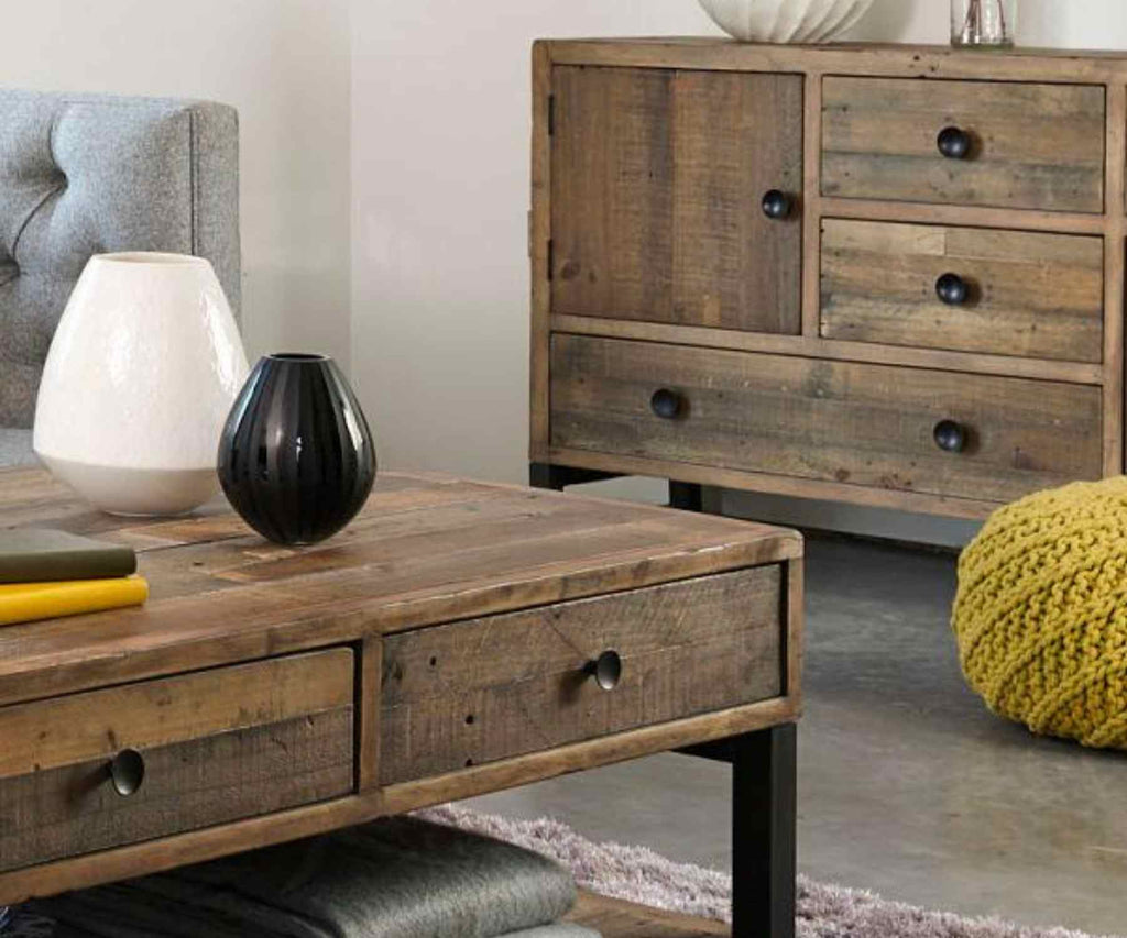 Reclaimed wood coffee table and sideboard with mustard pouff