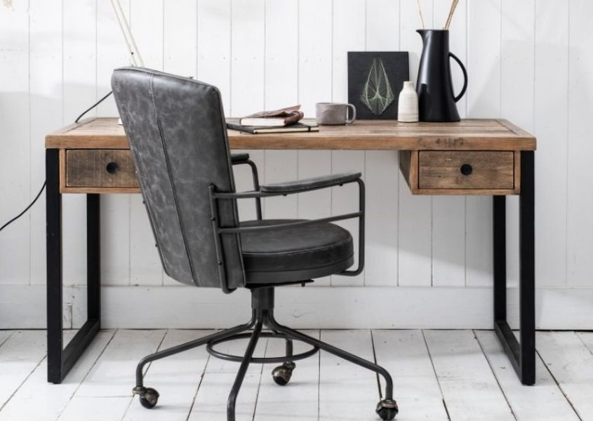 Industrial reclaimed wood desk with grey faux leather swivel office chair