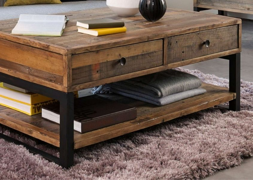 Industrial coffee table with two drawers and bottom shelf