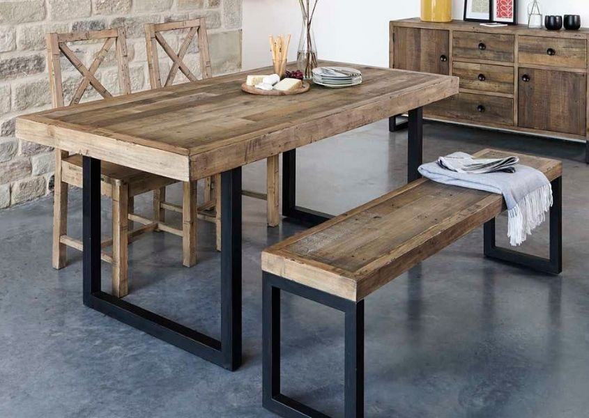 Industrial dining table with matching bench and sideboard