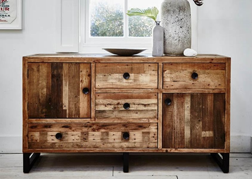 reclaimed wood sideboard with cupboards and drawers