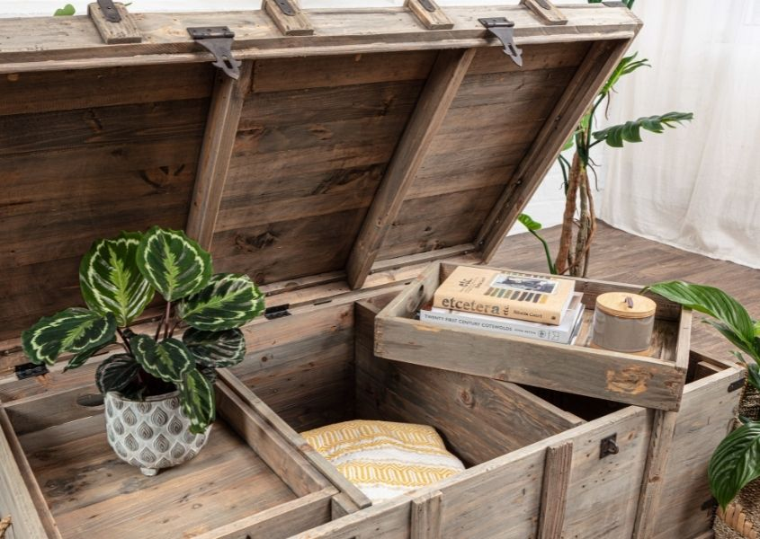 Reclaimed wood coffee table chest with removable tray inserts