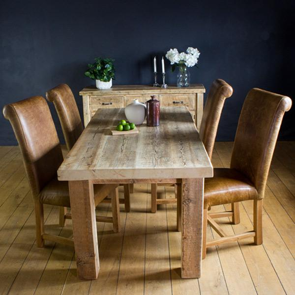 English Beam Reclaimed Wood Dining Table and Leather Chairs