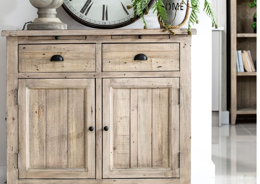 Rustic reclaimed wood sideboard with two drawers and cupboards