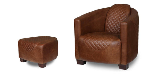 Triumph brown leather armchair with brown leather footstool