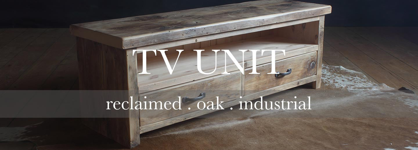 english beam reclaimed wood tv unit with two drawers
