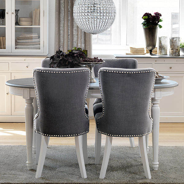 Victoria Distressed White Extending Oval Dining Table and Upholstered Dining Chairs