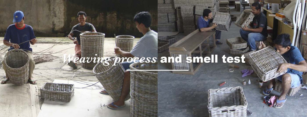 weaving and smell test process of making rattan furniture