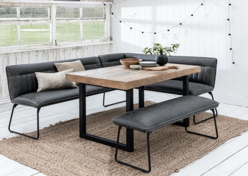industrial dining table with grey faux leather corner dining bench