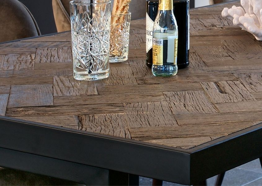 close up of reclaimed wood dining table