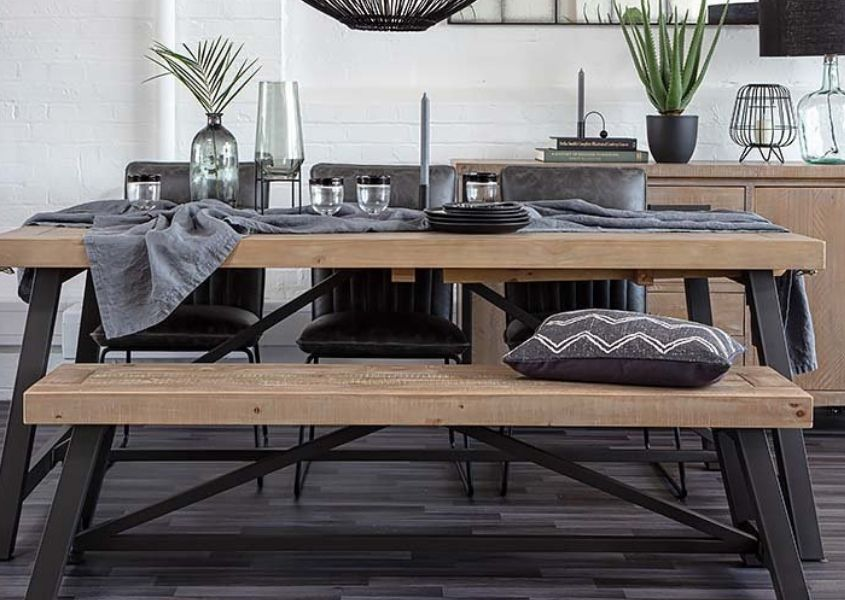 industrial dining table with industrial wooden bench