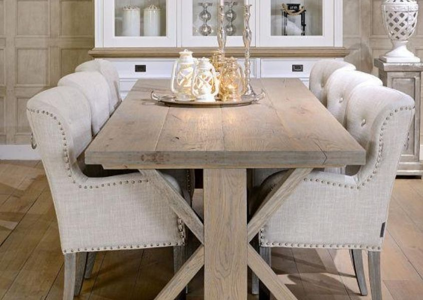 rustic dining table with white fabric dining chairs