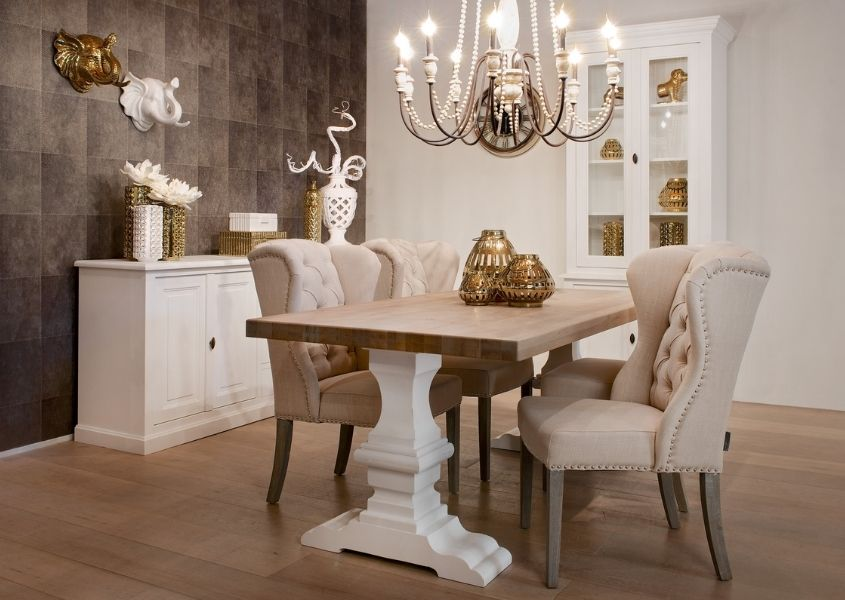 Formal dining room with reclaimed wood dining table and fabric dining chairs