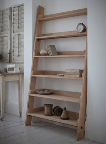 Light Raw Oak Wide Shelf Ladder bookcase farmhouse