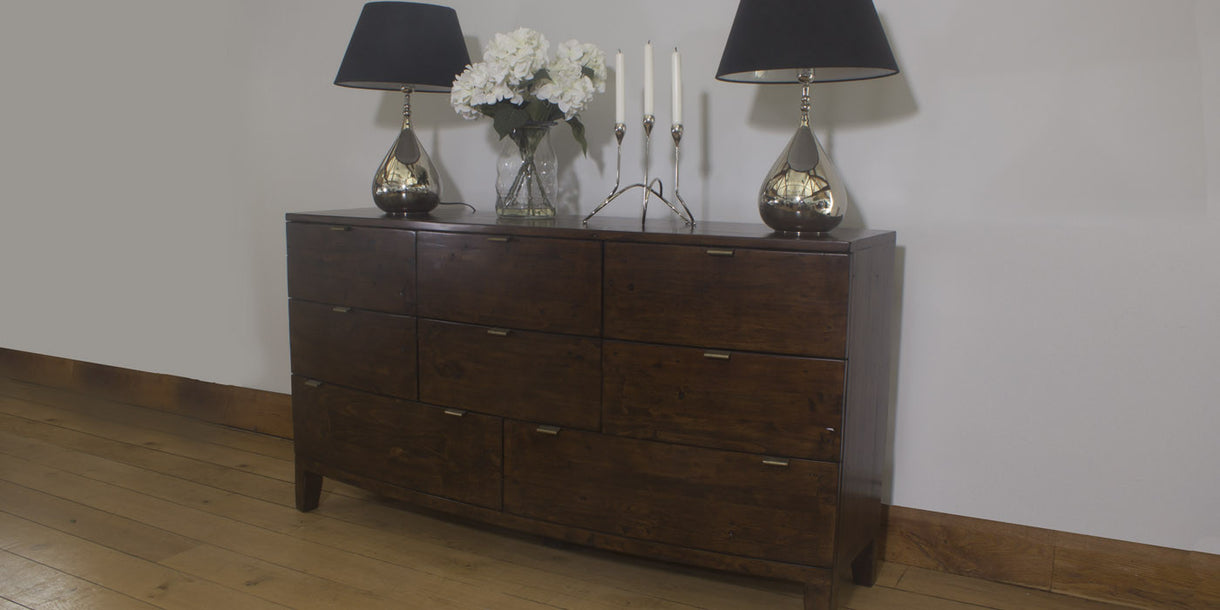 Winchester Dark Rustic Wooden Large Chest of Drawers