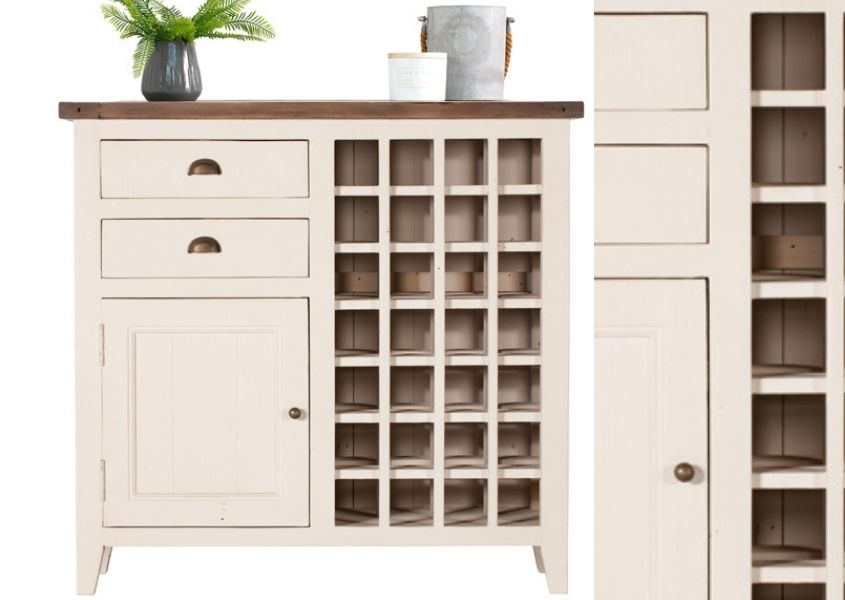 Cut out of white reclaimed wood sideboard with wine rack and close up of cabinet