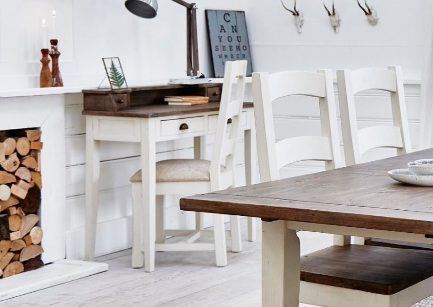 white painted reclaimed wood writing desk with wooden chair