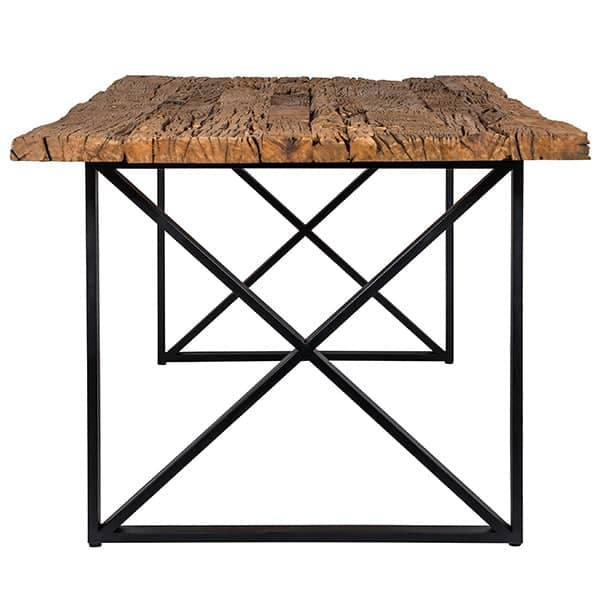 Luxe Kensington Industrial Reclaimed Wood Dining Table with Black Cross Legs