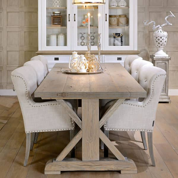 Exceptional Hoxton Rustic Oak Trestle Dining Table Lifestyle