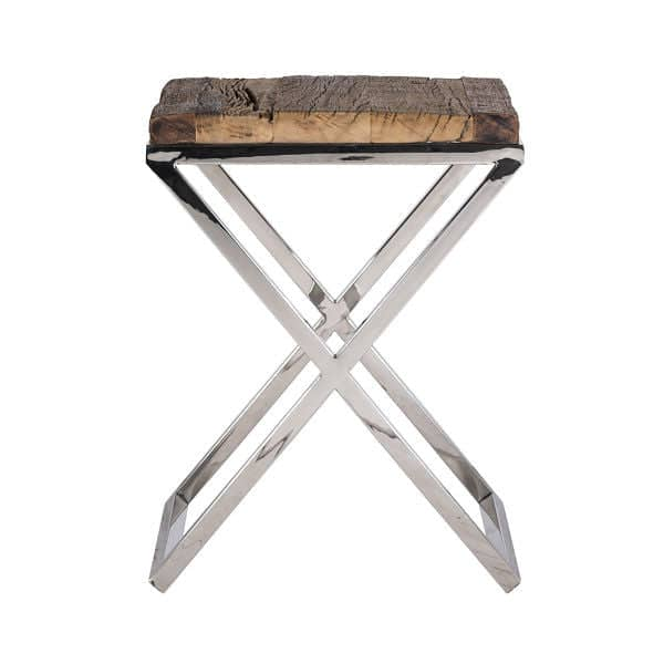 Luxe Kensington Reclaimed Wood Industrial Nest Of Round: Luxe Kensington Reclaimed Wood Square Side Table