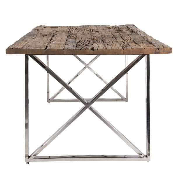 Reclaimed Wood Dining Table with Cross Frame in Chrome