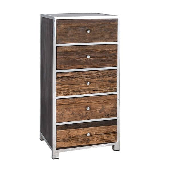 Luxe Kensington Reclaimed Wood 5 Drawer Chest of Drawers