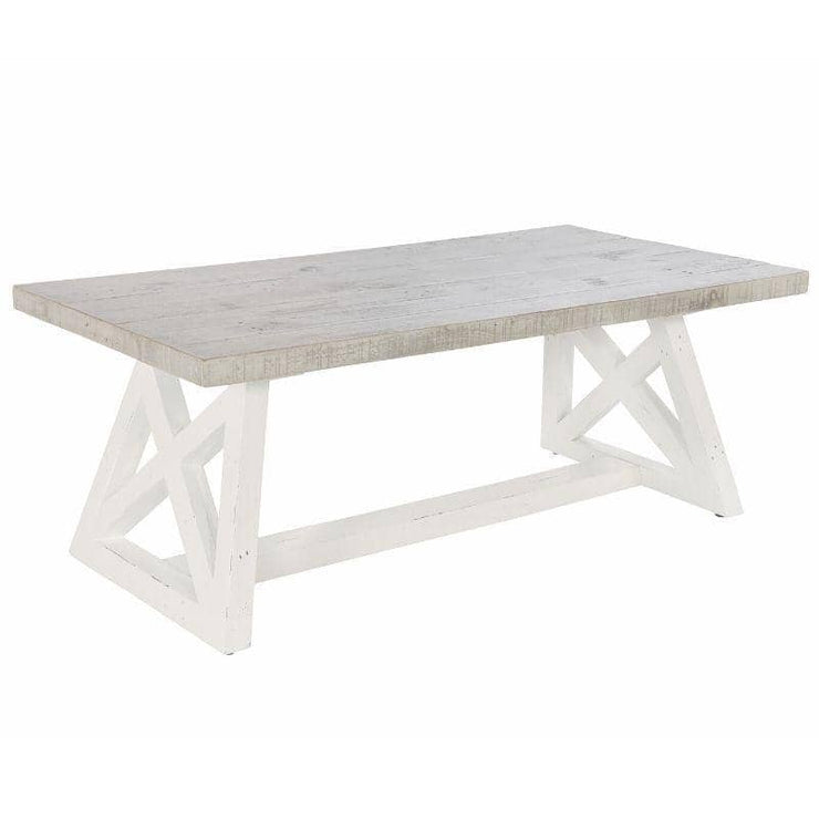 Abingdon Reclaimed Wood Coffee Table with white painted base